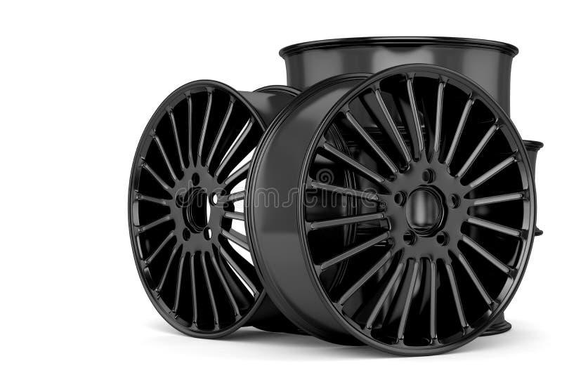 O automóvel roda dentro o preto ilustração stock