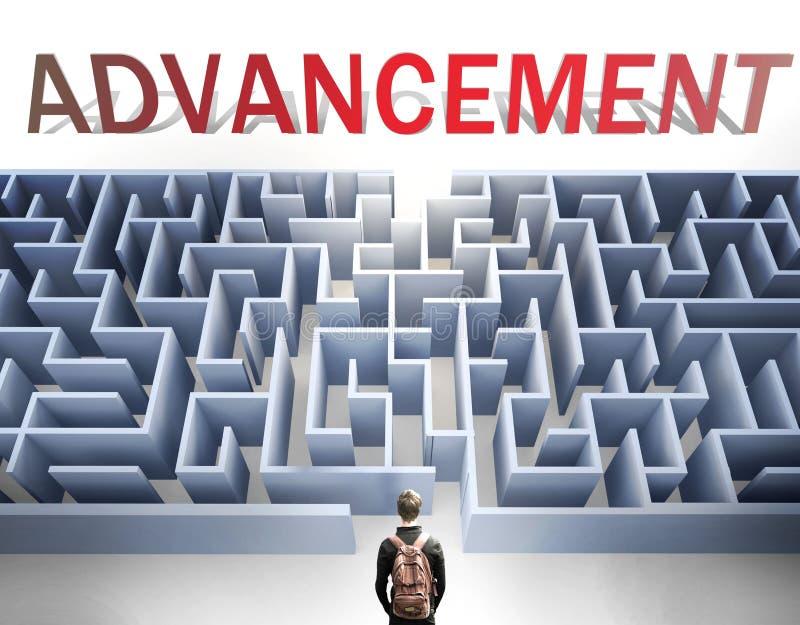 O avanço pode ser difícil de conseguir - imaginado como uma palavra Avanço e um labirinto para simbolizar que há um longo e difíc foto de stock
