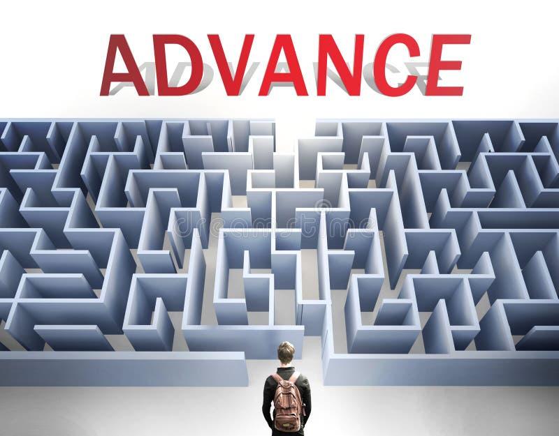 O avanço pode ser difícil de conseguir - imaginado como uma palavra Avanço e um labirinto para simbolizar que há um longo e difíc imagem de stock royalty free