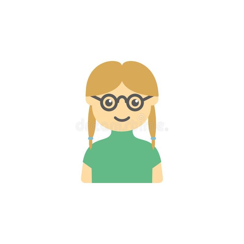 o avatar da menina com vidros coloriu o ícone Elemento do ícone das crianças para apps móveis do conceito e da Web Avatar colorid ilustração stock