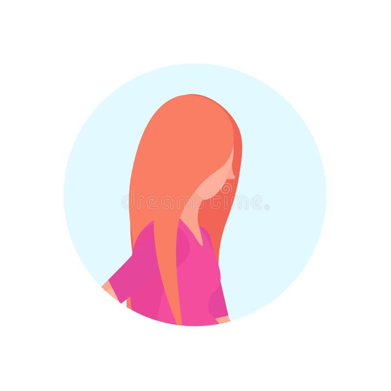 O avatar do perfil da mulher do ruivo isolou o plano fêmea do retrato do personagem de banda desenhada ilustração royalty free