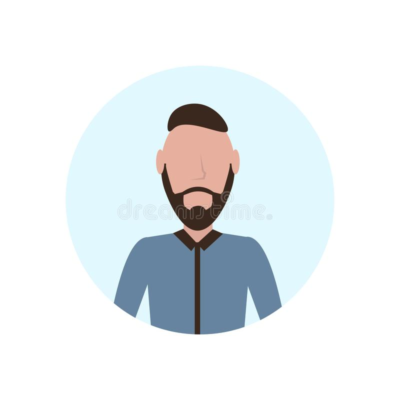 O avatar moreno do homem isolou o plano masculino do retrato do personagem de banda desenhada da barba sem cara ilustração do vetor