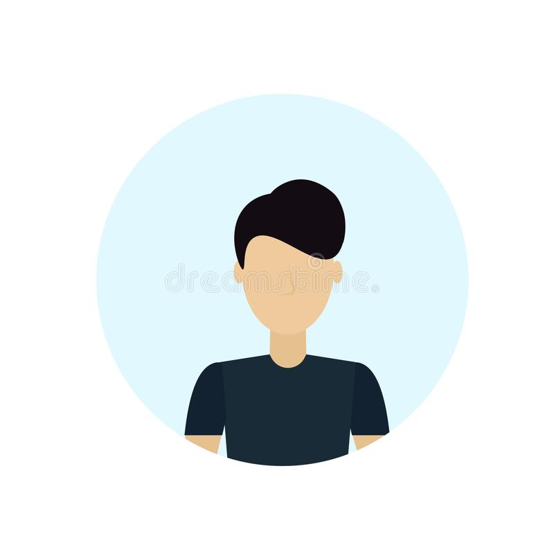 O avatar moreno do homem isolou o plano masculino sem cara do retrato do personagem de banda desenhada ilustração do vetor