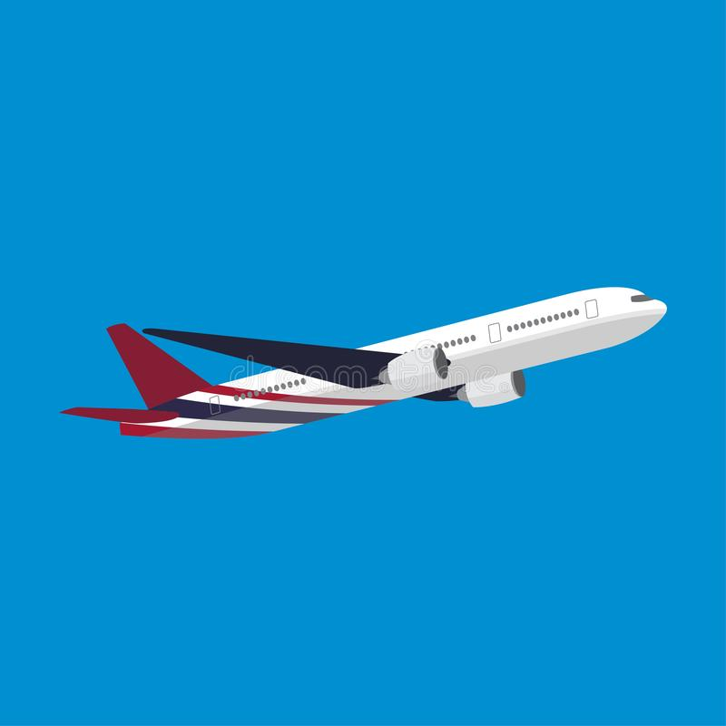 O avião com a bandeira de Tailândia pintou ilustração do vetor