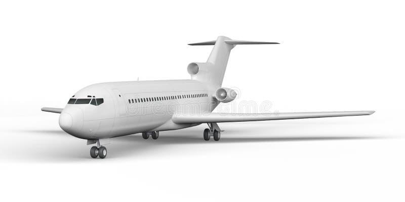O avião comercial BOEING 727 3D rende em um fundo branco ilustração do vetor