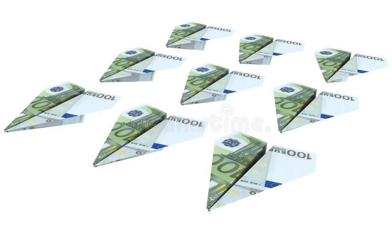 O avião da força do euro está voando ilustração do vetor