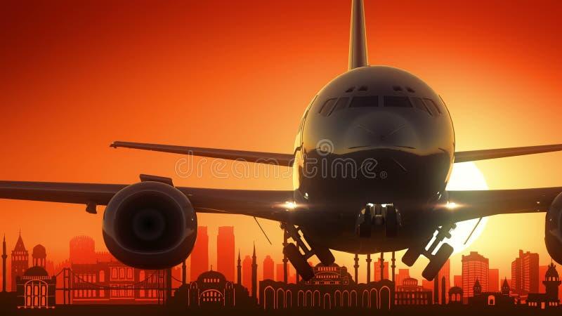 O avião de Istambul Turquia decola o fundo dourado da skyline ilustração royalty free