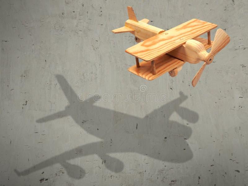 O avião de madeira do voo com o plano da sombra imagens de stock