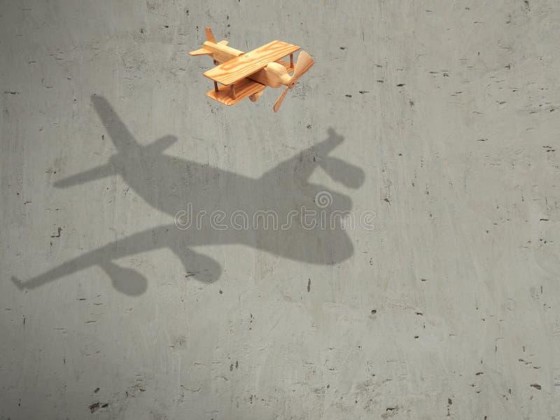 O avião de madeira do voo com o plano da sombra imagem de stock royalty free