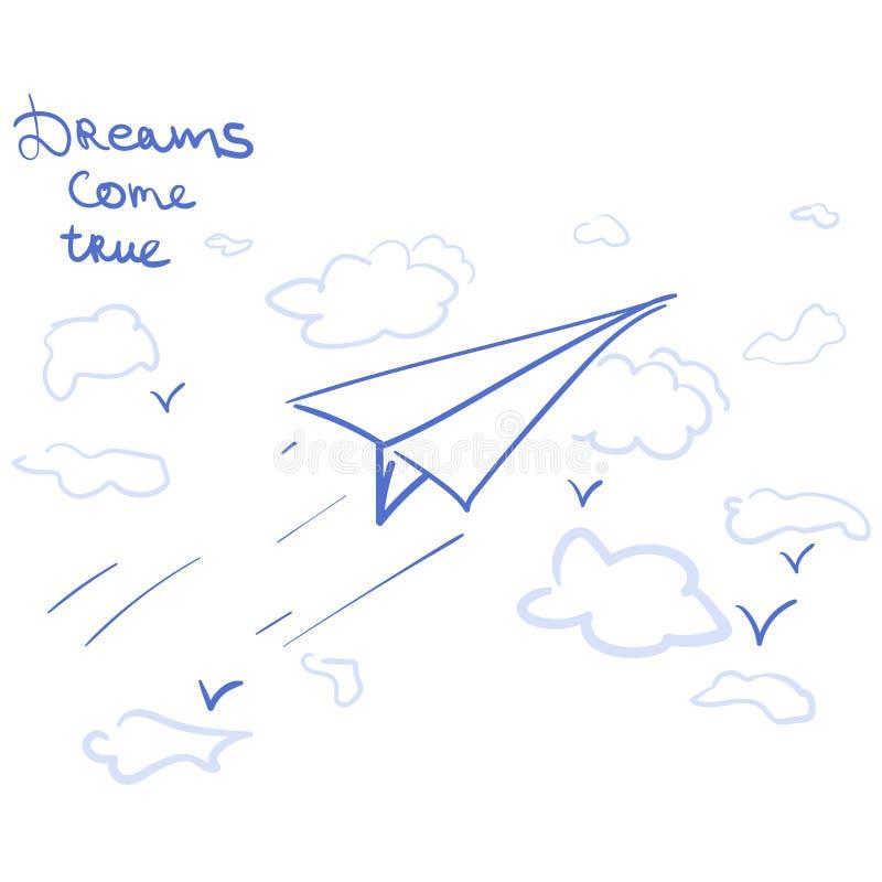 O avião de papel e os sonhos vêm verdadeiro ilustração do vetor