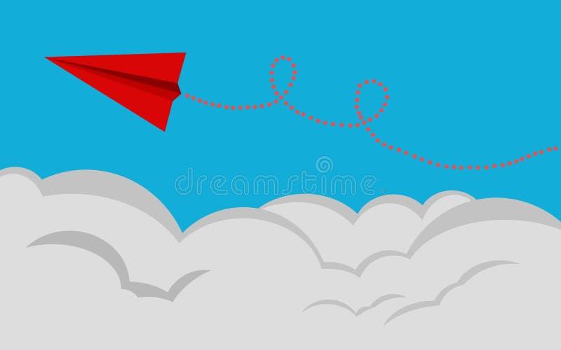 O avião de papel vermelho voa em um fundo azul ilustração stock
