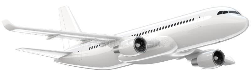 O avião de passageiros branco altamente detalhado, 3d rende em um fundo branco O avião decola, a ilustração 3d isolada airline ilustração do vetor