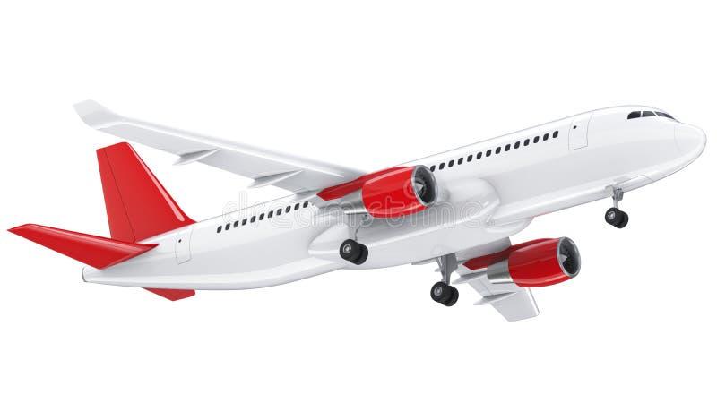 O avião de passageiros branco altamente detalhado, 3d rende em um fundo branco O avião decola, a ilustração 3d isolada airline ilustração stock