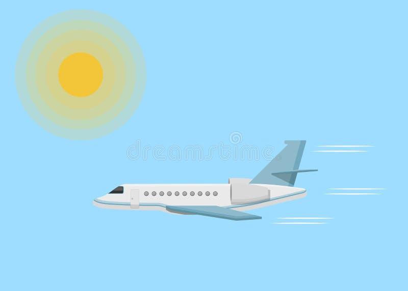 O avião do jato jejua, expõe ao sol o céu ilustração stock
