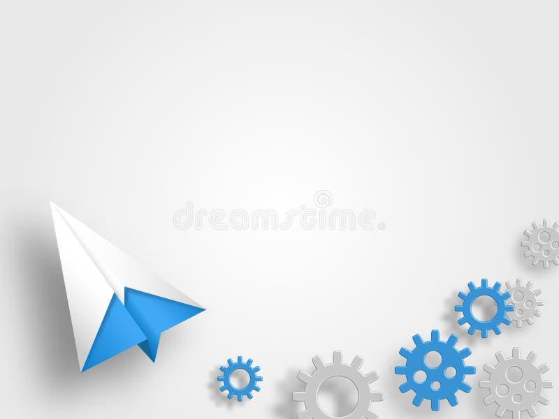 O avião do origâmi com as engrenagens no fundo cinzento representa a ideia e o conceito novos da inovação Fundo da tecnologia ilustração royalty free