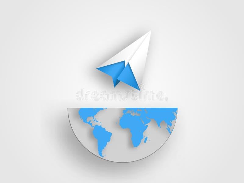 O avião do origâmi no meio tamanho do mapa da terra representa o conceito da inovação e da ideia Fundo da tecnologia Conceito de  fotos de stock royalty free