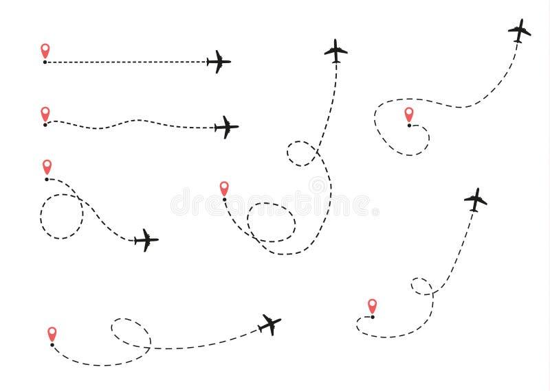 O avião está em uma linha pontilhada ilustração royalty free
