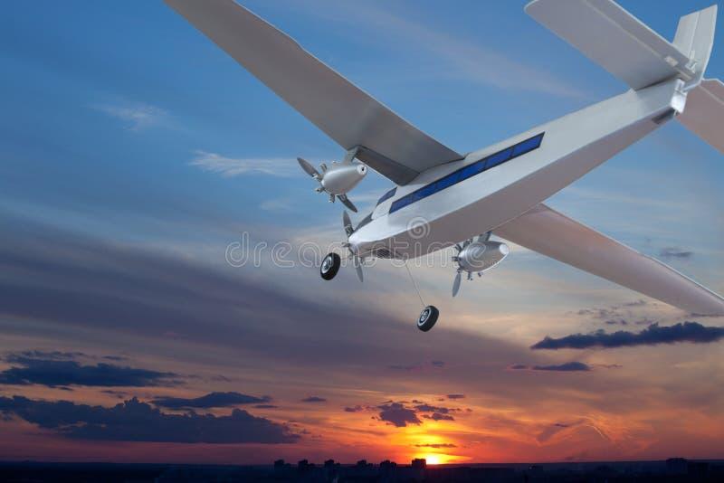 O avião estava aterrando imagens de stock