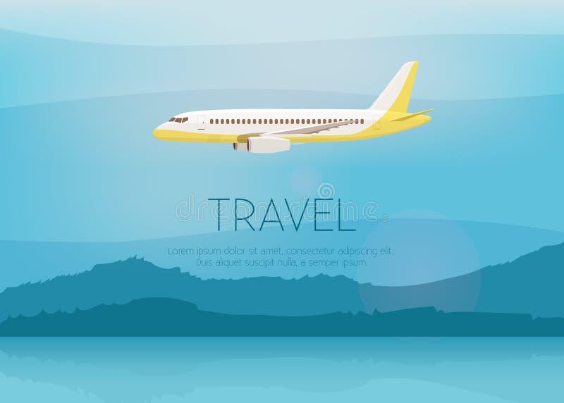 O avião voa no céu Vista lateral Ilustração do vetor dos desenhos animados ilustração royalty free