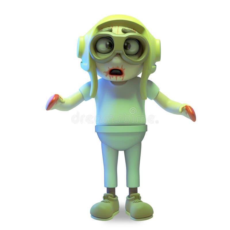 O aviador pobre do zombi do vivo no chapéu dos pilotos é muito infeliz, a ilustração 3d ilustração do vetor