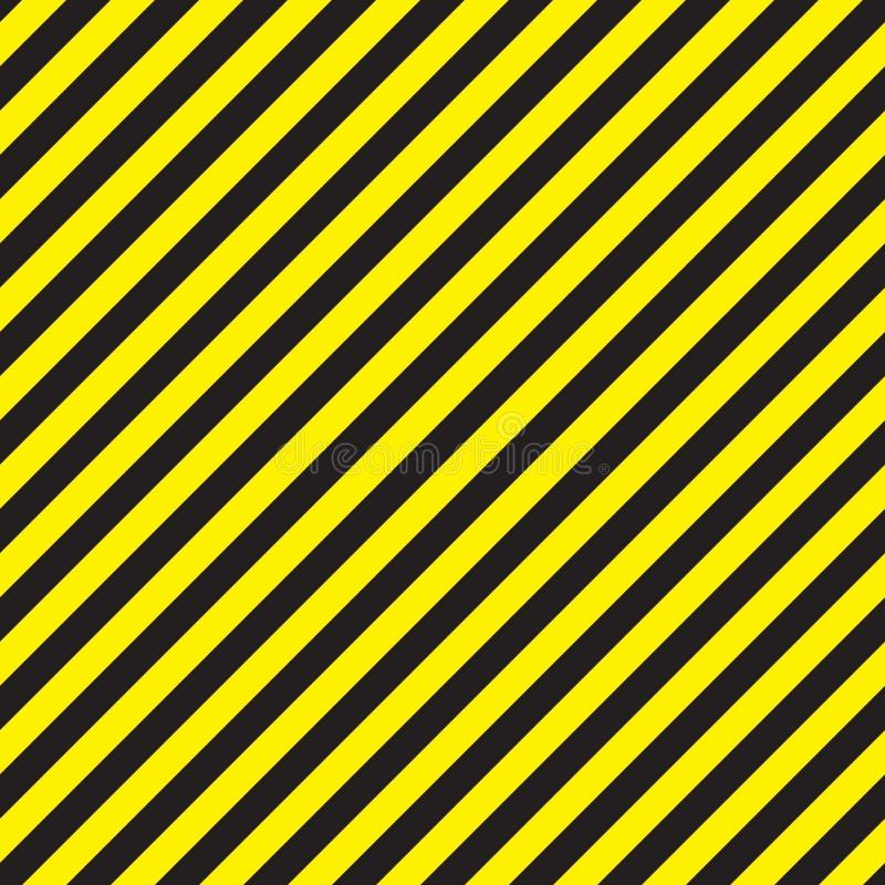 O aviso preto da viga sem emenda e amarelo diagonal listra o teste padrão ilustração stock