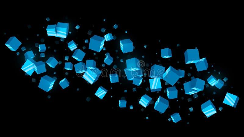 O azul abstrato cuba o fundo escuro ilustração royalty free