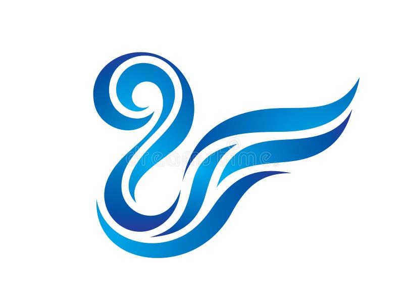 O azul acena a água - ilustração do logotipo do vetor Formas lisas abstratas Sinal estilizado da asa Elementos do projeto ilustração royalty free