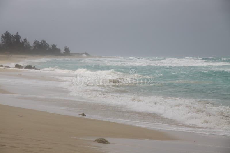 O azul acena a praia tropical da tempestade fotografia de stock