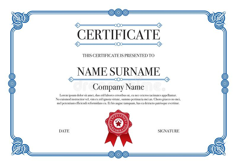 O azul arredondou a beira do certificado do estilo com selo vermelho ilustração stock