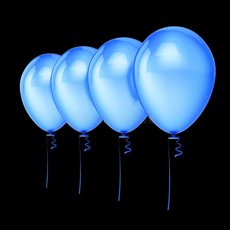 O azul balloons a decoração do aniversário de 4 partidos, balão do hélio quatro ilustração do vetor