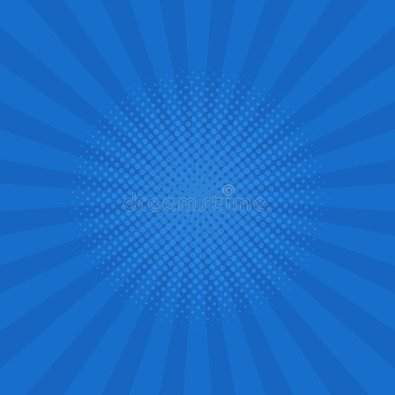 O azul brilhante irradia o fundo Banda desenhada, estilo do pop art Vetor ilustração royalty free