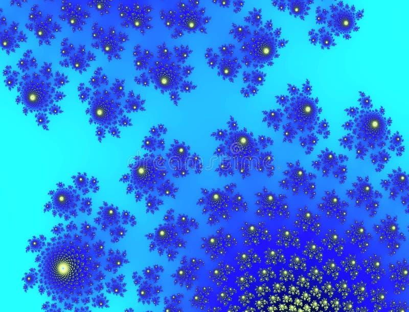 O azul ciano dos azuis celestes de turquesa brilhante coloriu o fundo floral abstrato ilustração do vetor