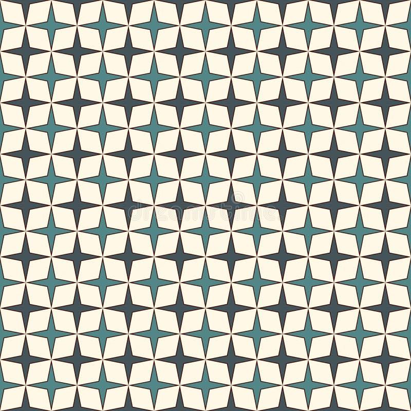 O azul colore o teste padrão sem emenda com as estrelas de repetição estilizados Ornamento geométrico simples textura à moda mode ilustração royalty free