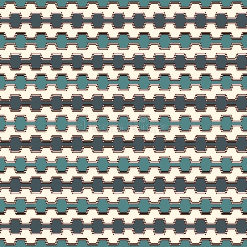 O azul colore o teste padrão sem emenda com linhas curvadas ameia Figuras geométricas repetidas papel de parede Superfície modern ilustração do vetor