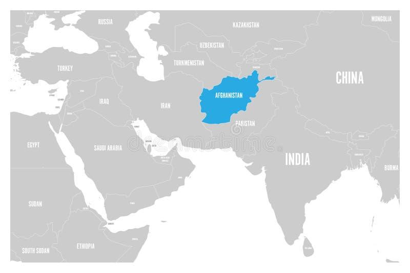 O azul de Afeganistão marcado no mapa político do vetor liso simples de 3Sul da Ásia e de Médio Oriente traça ilustração royalty free