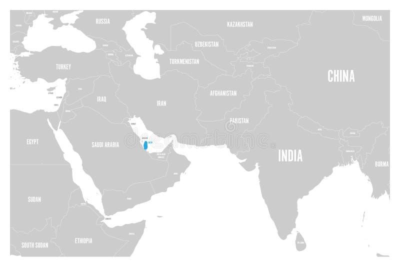O azul de Catar marcado no mapa político do vetor liso simples de 3Sul da Ásia e de Médio Oriente traça ilustração royalty free