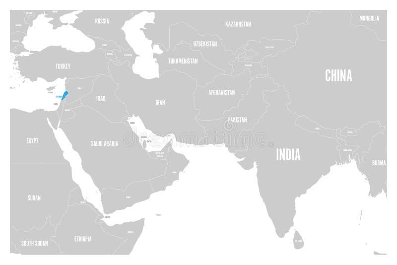 O azul de Líbano marcado no mapa político do vetor liso simples de 3Sul da Ásia e de Médio Oriente traça ilustração royalty free
