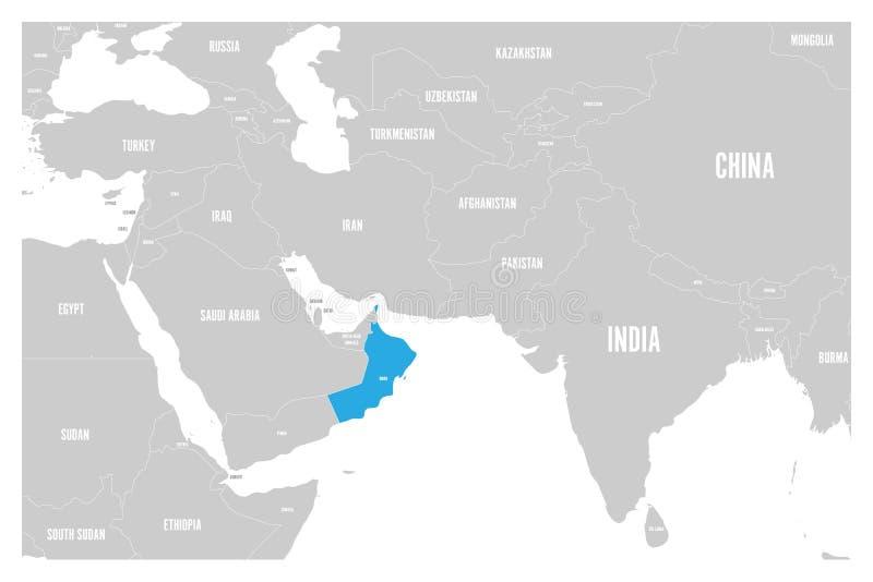 O azul de Omã marcado no mapa político do vetor liso simples de 3Sul da Ásia e de Médio Oriente traça ilustração royalty free