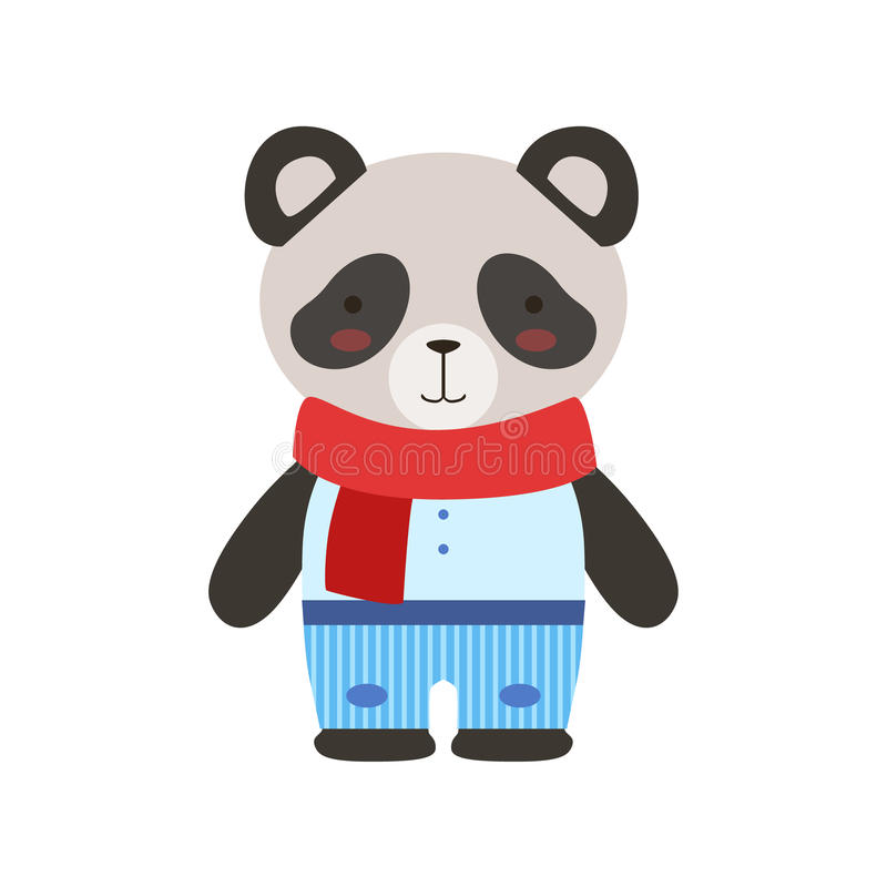 O azul de Panda In Red Scarf And arfa Toy Baby Animal Dressed As bonito Little Boy ilustração do vetor