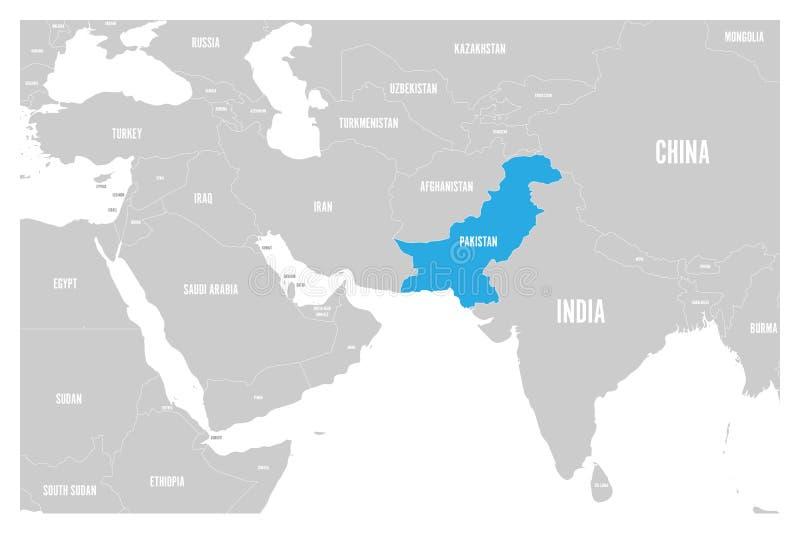 O azul de Paquistão marcado no mapa político do vetor liso simples de 3Sul da Ásia e de Médio Oriente traça ilustração do vetor