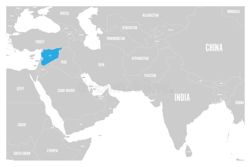 O azul de Síria marcado no mapa político do vetor liso simples de 3Sul da Ásia e de Médio Oriente traça ilustração stock
