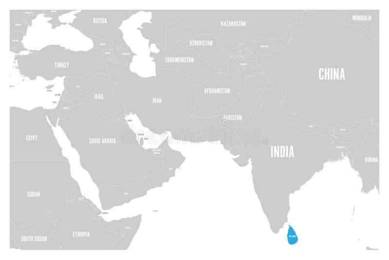 O azul de Sri Lanka marcado no mapa político do vetor liso simples de 3Sul da Ásia e de Médio Oriente traça ilustração royalty free