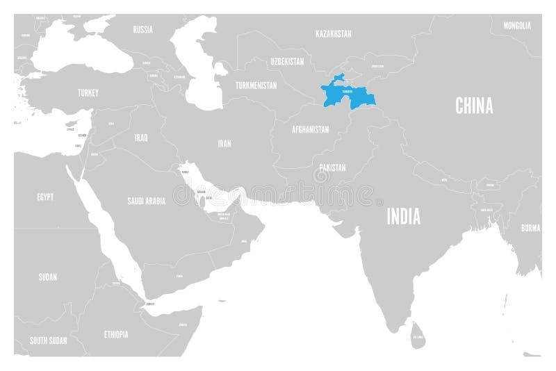 O azul de Tajiquistão marcado no mapa político do vetor liso simples de 3Sul da Ásia e de Médio Oriente traça ilustração stock