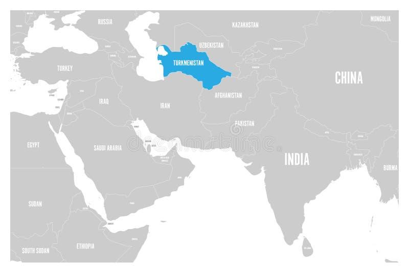 O azul de Turquemenistão marcado no mapa político do vetor liso simples de 3Sul da Ásia e de Médio Oriente traça ilustração do vetor