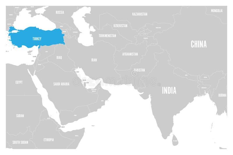 O azul de Turquia marcado no mapa político do vetor liso simples de 3Sul da Ásia e de Médio Oriente traça ilustração royalty free