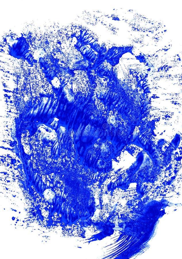 O azul do fundo deixa cair o redemoinho e espirra-o em branco fotografia de stock