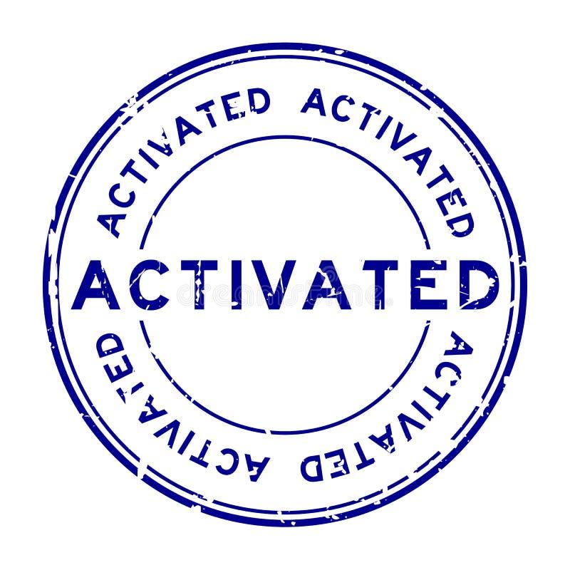 O azul do Grunge ativou o selo de borracha do selo no fundo branco ilustração stock