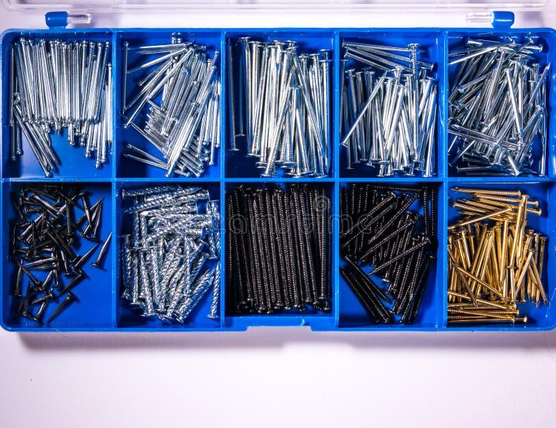 O azul dos compartimentos da tentativa dos pregos utiliza ferramentas a caixa do conjunto de ferramentas do metal da construção fotografia de stock royalty free