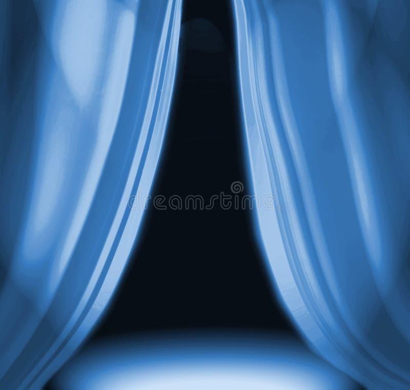 O azul drapeja no estágio vazio ilustração royalty free