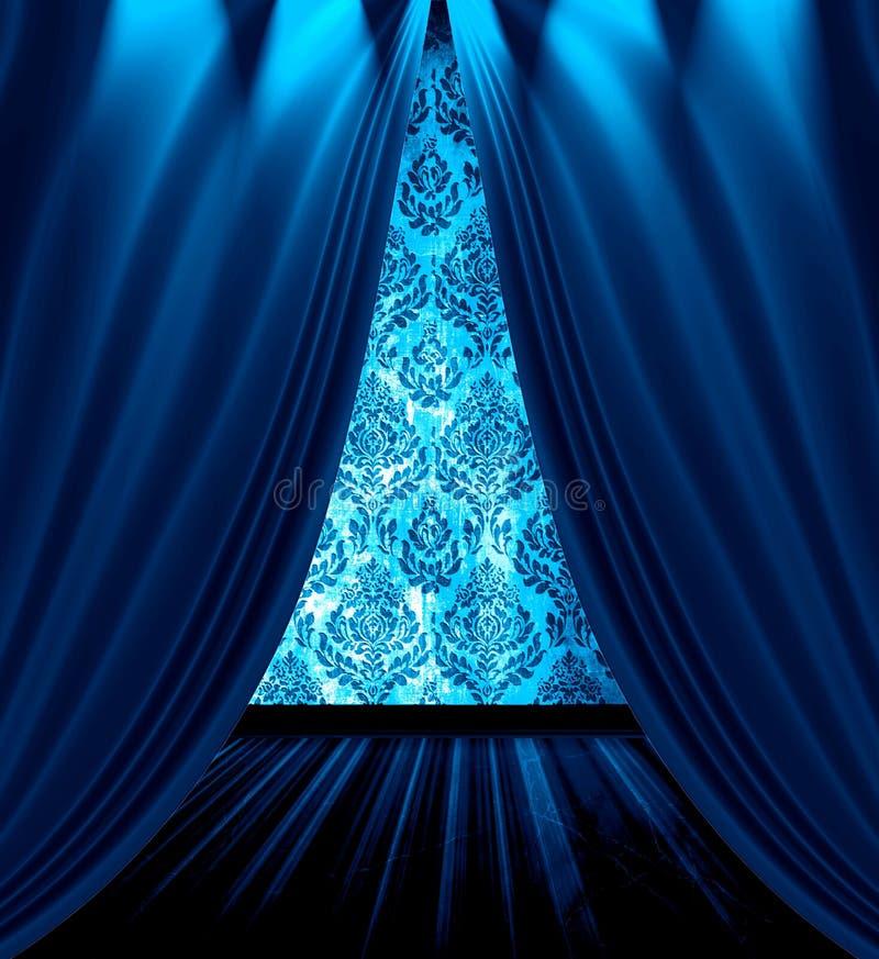 O azul drapeja o quarto ilustração royalty free
